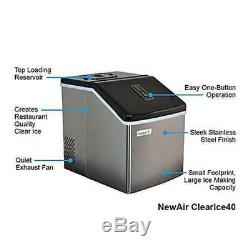 NewAir ClearIce40 Portable Countertop Clear Ice Maker, Stainless Steel (Used)