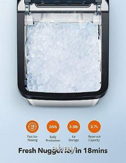 Nugget Ice Maker for Countertop, Sonic Ice Maker Machine, Self-Cleaning
