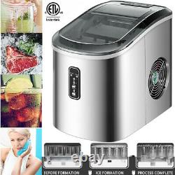 Portable Countertop Electric Ice Cube Maker Machine 26Lbs/24H Two Ice Size (S/L)