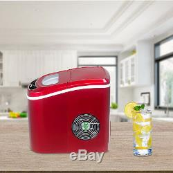 Portable Electric Ice Maker Compact Countertop Ice Cube Machine 26 Lbs/Day Red