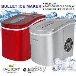 Portable Ice Maker Machine Countertop 2-Size Mini Bullet 26lbs Daily Capacity