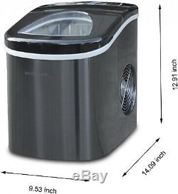 Portable Small Ice Cube Maker Stainless Steel Kitchen Countertop Machine 2-Sizes
