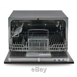 Portable Stainless Steel Dishwasher Unit For Small Kitchen Countertop, Black