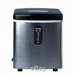 Smeta 33Lbs/Day Countertop Ice Machine Bullet-Shape Ice Maker Stainless Steel