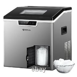 Stainless Ice Maker Machine Countertop 44Lbs/24H Ice Shaver Machine withLCD 2-in-1