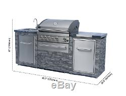 Stainless Steel Grill Island 4 Burner Granite Countertop with Sink (Natural Gas)