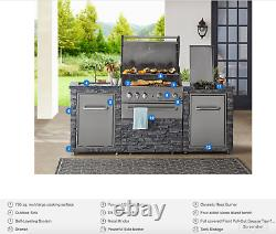 Stainless Steel Grill Island 4 Burner Granite Countertop with Sink (Propane)