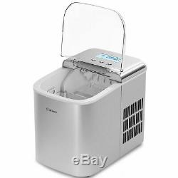 Stainless Steel Ice Maker Countertop 26LBS/24H LCD Display WithScoop Portable New