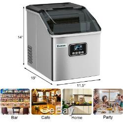 Stainless Steel Ice Maker Machine Countertop 48Lbs/24H Self-Clean Portable