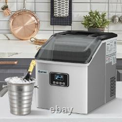 Stainless Steel Ice Maker Machine Countertop 48Lbs/24H Self-Clean with LCD