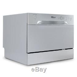 Stainless Steel Portable 6 Place Settings Countertop Compact Dishwasher, Silver