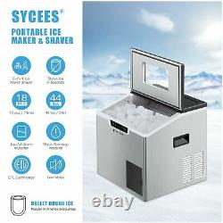 Sycees 44Lbs/24H Ice Maker Shaver, 2-in-1 Ice Machine, Portable Countertop Bulle