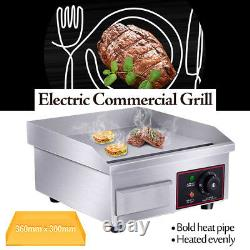 US 1500W 110V BBQ Electric Countertop Griddle Flat Commercial Restaurant Grill