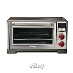 Wolf Gourmet WGCO100S Stainless Steel Convection Countertop Oven with Red Knobs